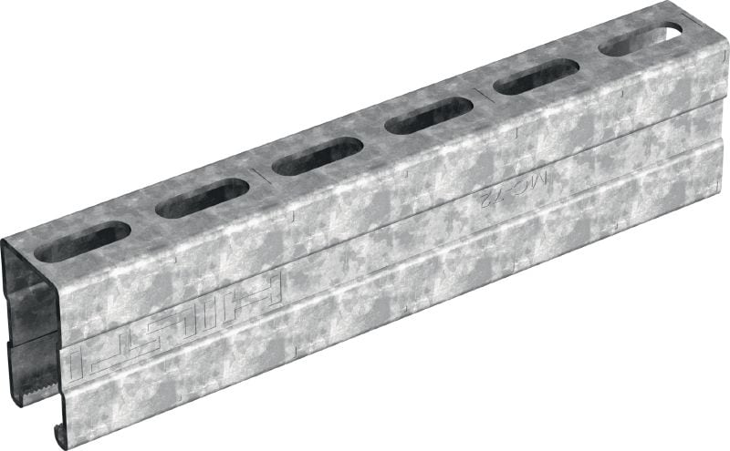 MC-72 OC-A Hot-dip galvanized (HDG) installation channel for higher load requirements and outdoor use